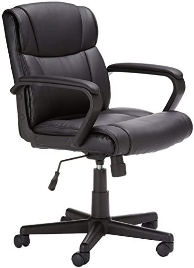 8. AmazonBasics Leather-Padded Chair