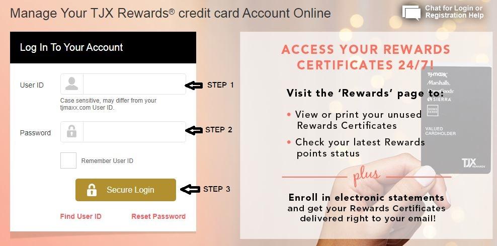 tjx credit card login